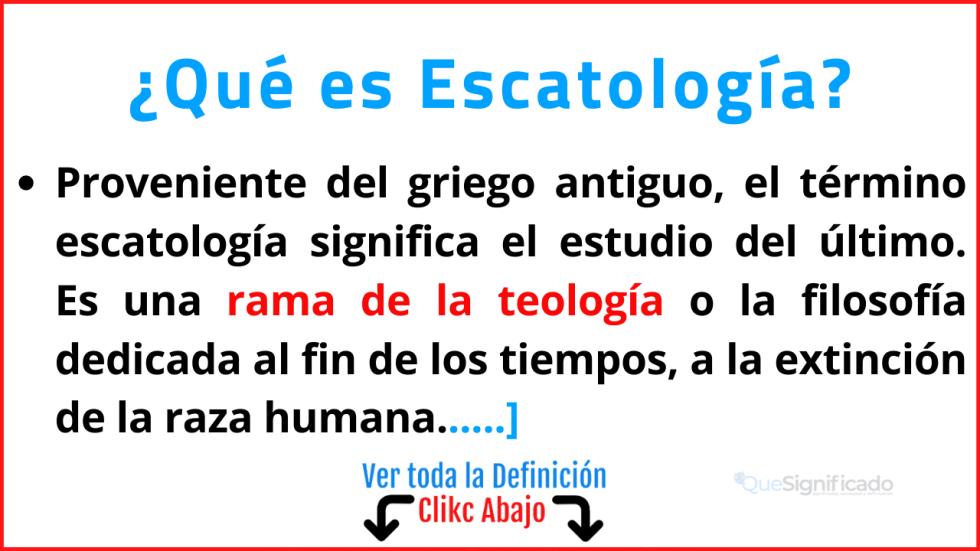 que es escatología