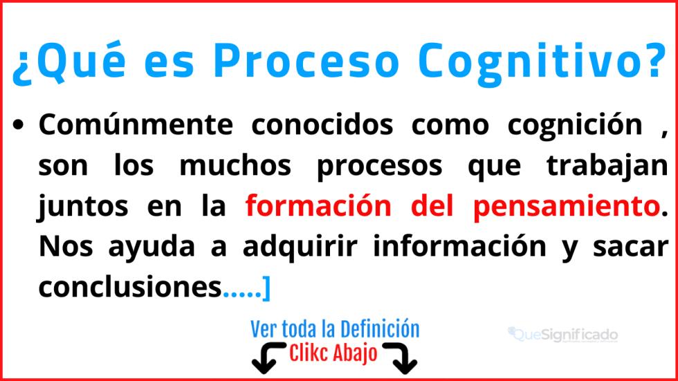 que es proceso cognitivo