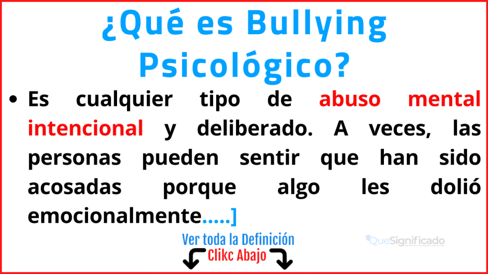 Qué es Bullying Psicológico