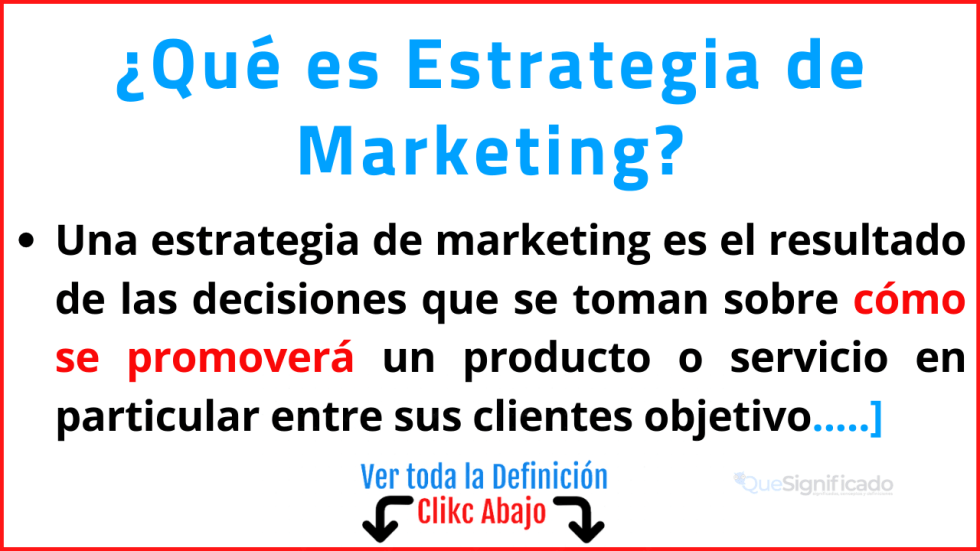 Qué es Estrategia de Marketing