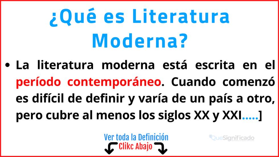 Qué es Literatura Moderna