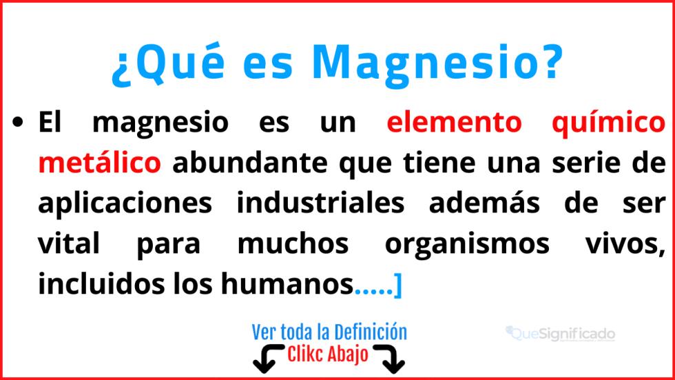 Qué es Magnesio