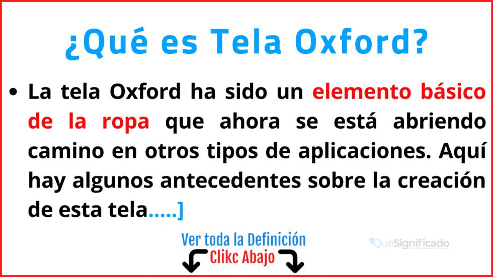 Qué es Tela Oxford
