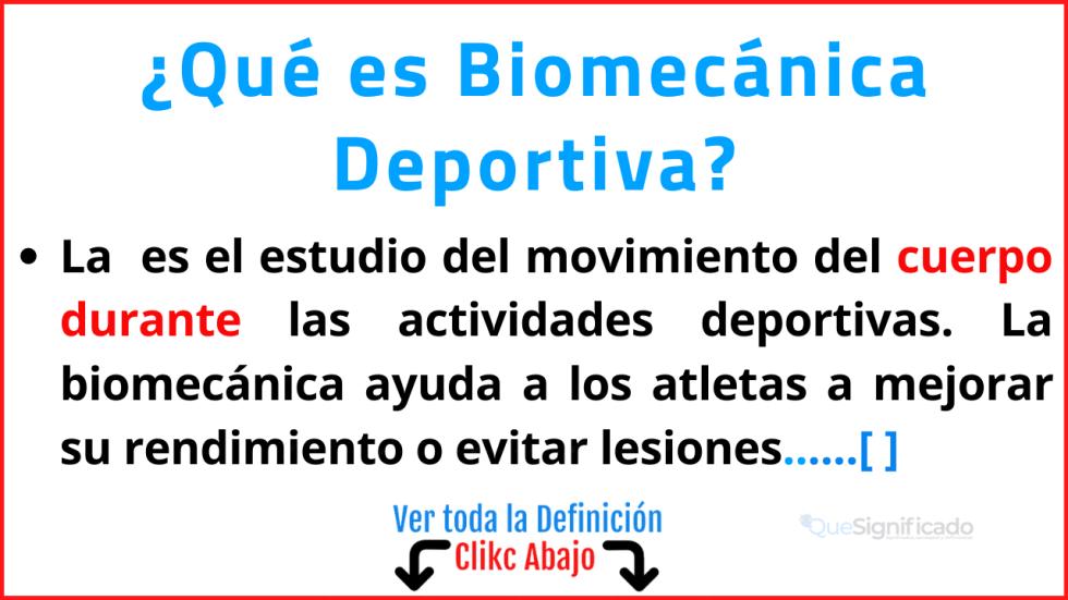 Qué es Biomecánica Deportiva