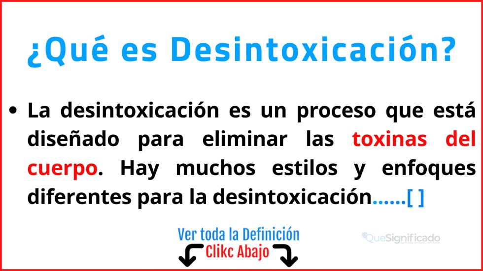 Qué es Desintoxicación