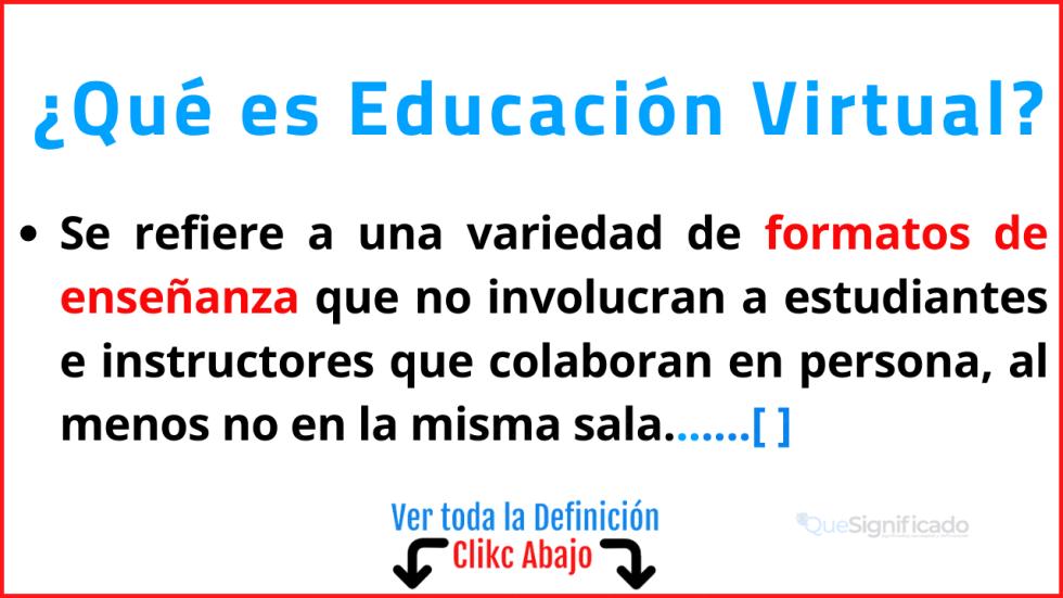 Qué es Educación Virtual