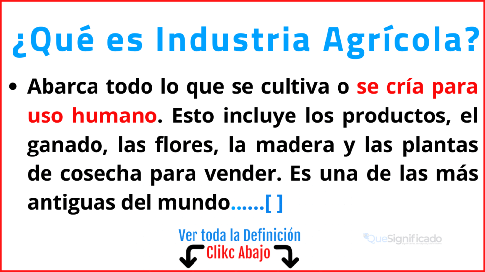 Qué es Industria Agrícola