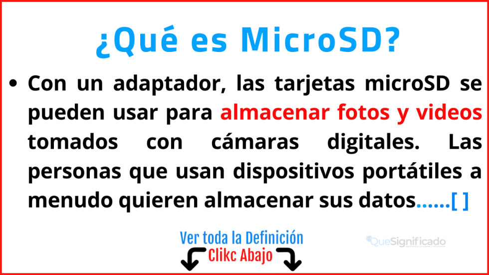 Qué es MicroSD