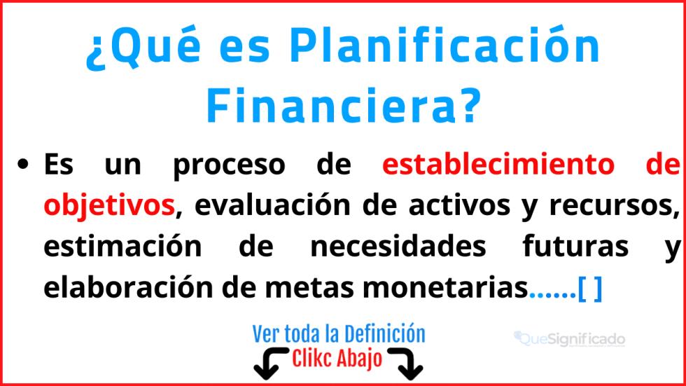 Qué es Planificación Financiera