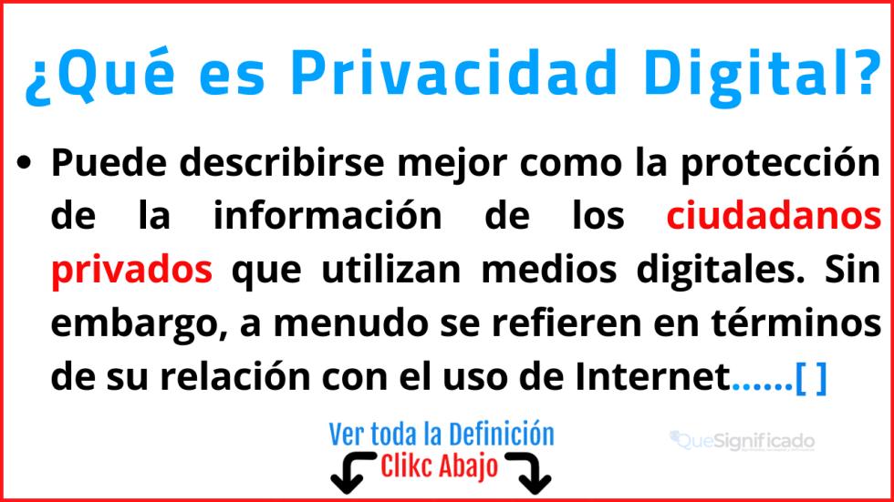 Qué es Privacidad Digital