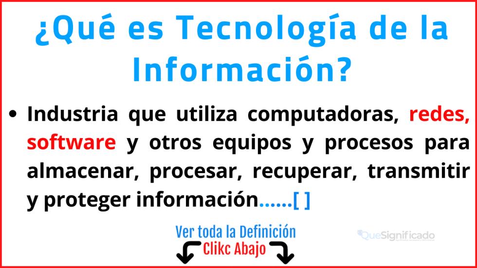 Qué es Tecnología de la Información