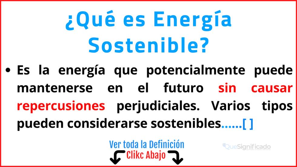 Qué es Energía Sostenible