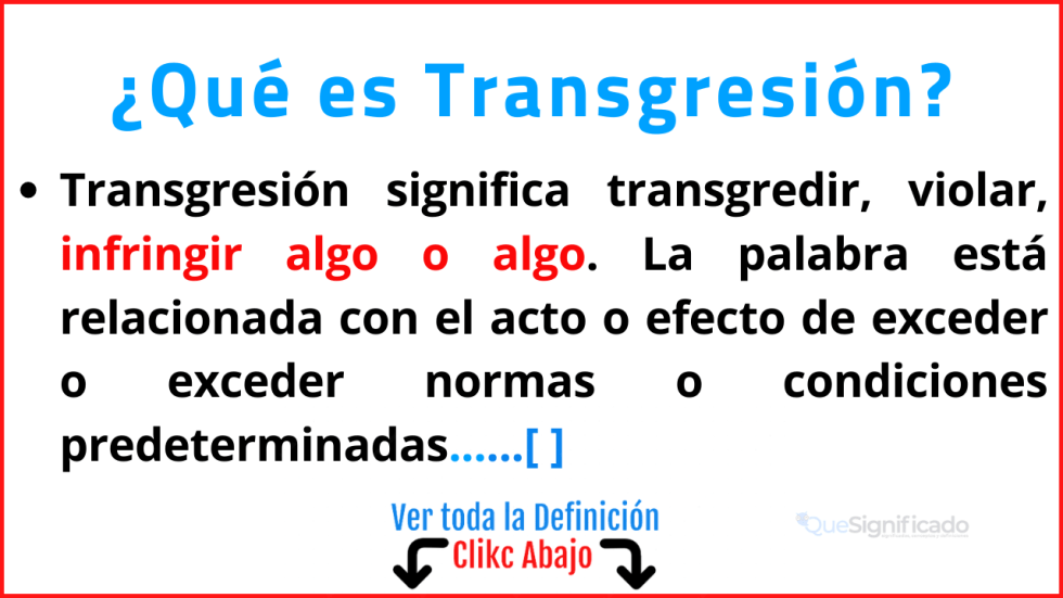 Qué es Transgresión