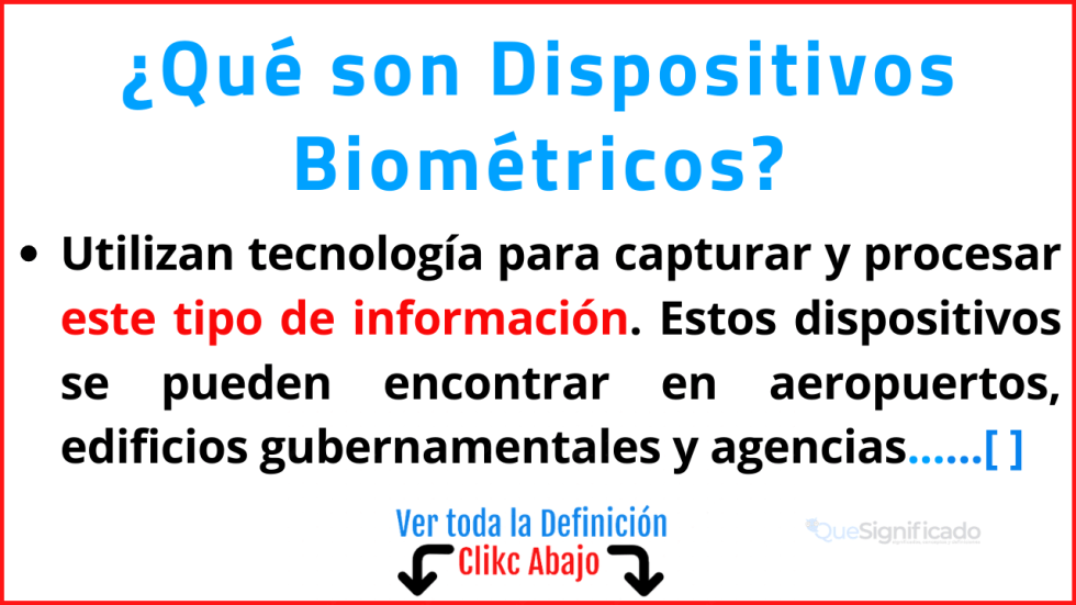 Qué son Dispositivos Biométricos