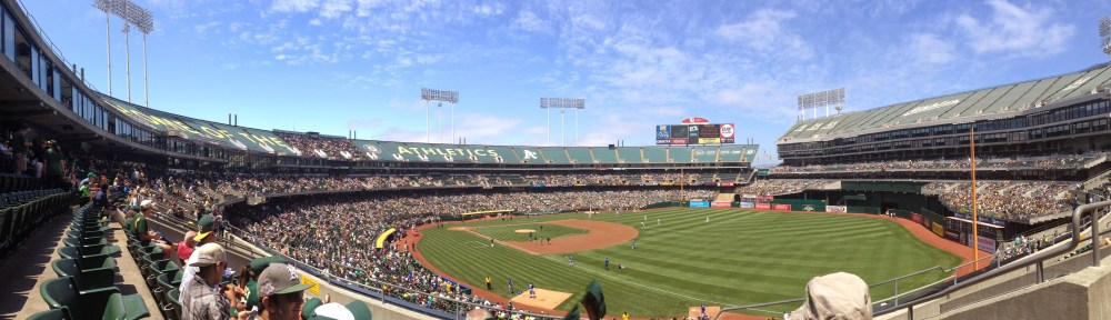 A panoramic view of Oakland-Alameda County Coliseum in Oakland, California on Aug. 2, 2014.