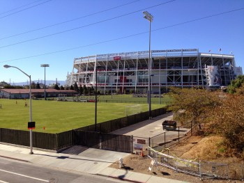 Levi's Stadium is pictured behind some youth soccer fields on Oct. 14, 2104, in Santa Clara, California.