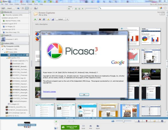 A screen capture showing Google's Picasa desktop software running on a Windows 7 computer on Thursday, March 10, 2016.