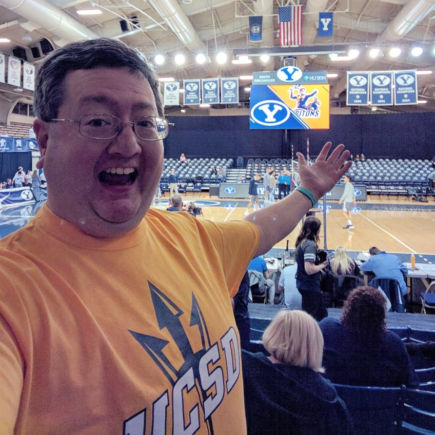 As seen on Instagram, I debuted a new yellow UCSD T-shirt on Friday, Feb. 17, 2017, as the UC San Diego Tritons took on the Brigham Young University Cougars in Provo.