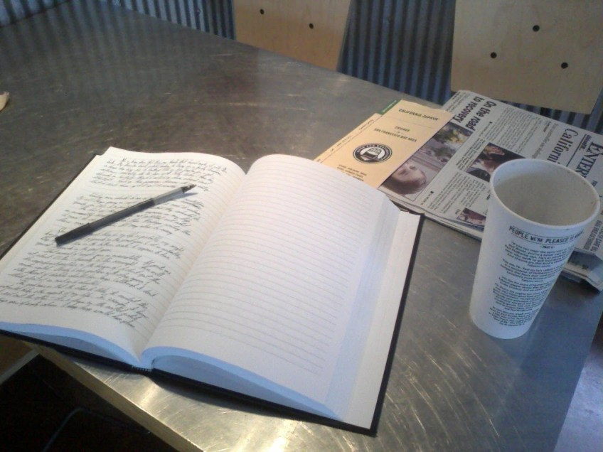 Writing in a journal at the Chipotle on Mangrove Avenue in Chico.