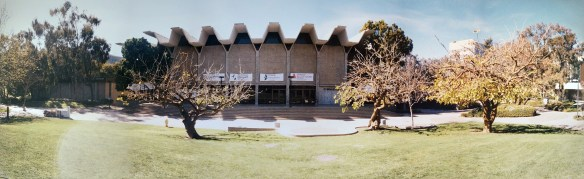 UCSD's Main Gym is seen in this composite photo taken in the 1990s. Most indoor intercollegiate activities now take place at the RIMAC Center.
