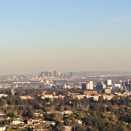 The Los Angeles skyline as seen from the Getty Center in December 2014.