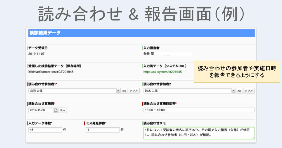 読み合わせ&報告画面(例)
