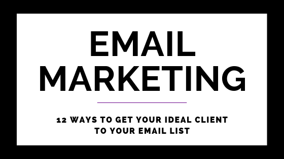 12 Ways To Get Your Ideal Client To Your Email List