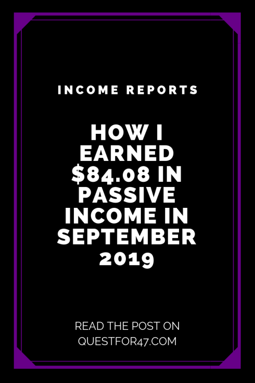 September 2019 Income Report on Quest for $47 Pinterest