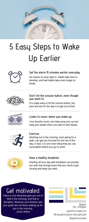 Take a look at the 5 steps to make waking up earlier a bit easier.