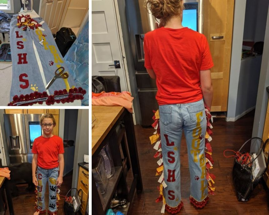 Finished homecoming spirit pants made with the cameo 2 and heat vinyl transfer.