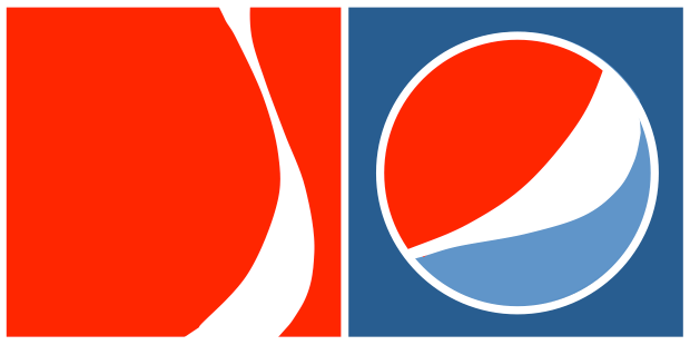 stylized graphic of coke and pepsi logos