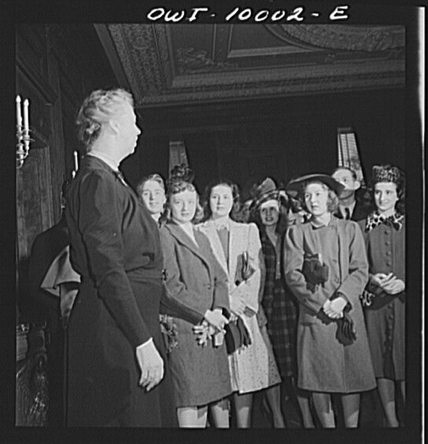 Mrs. Roosevelt apologizes to students for the disarray of the White House rooms which are being prepared for air raids.