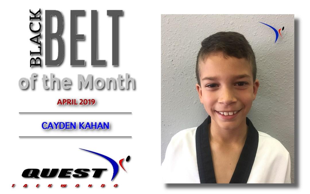 Black Belt of the Month: Cayden Kahan
