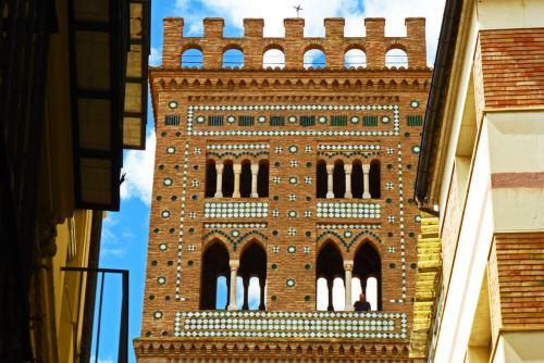 Detalles de la decoración mudéjar de la Torre de San Martín