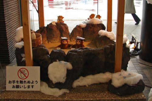 Promoción de los macacos de Hakodate en la Estación de Trenes