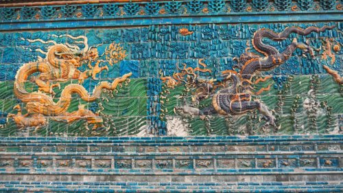 Detalle de la Pared de los Nueve Dragones de Datong