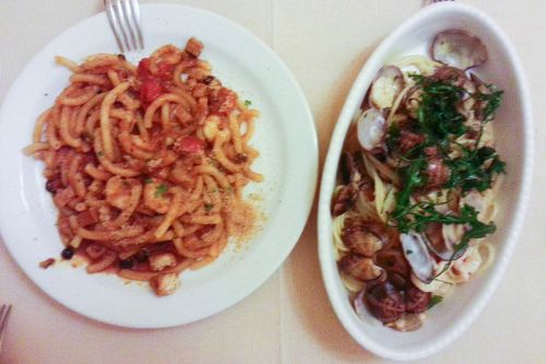 Pici y tagliatelle con almejas, platos típicos de Pisa