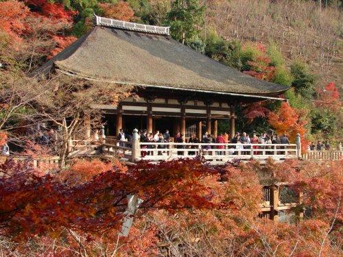 Momiji en el templo Kiyomizudera, fiestas de Kioto