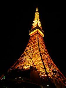 Vista nocturna de la Tokyo Tower