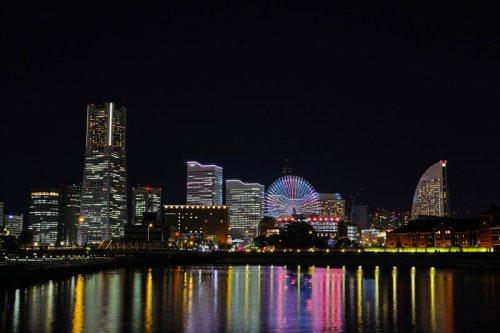 Vista nocturna de Minato Mirai, el barrio más futurista de Yokohama