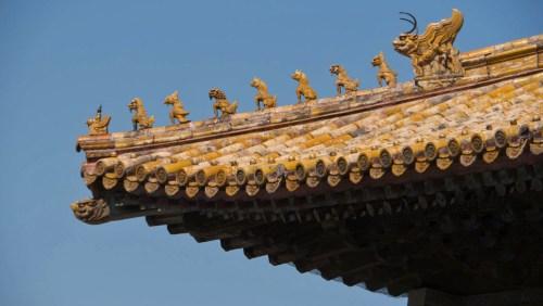 Detalle de los techos de la Ciudad Prohibida de Pekín