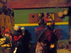 A gypsy caravan is part of the nativity scene