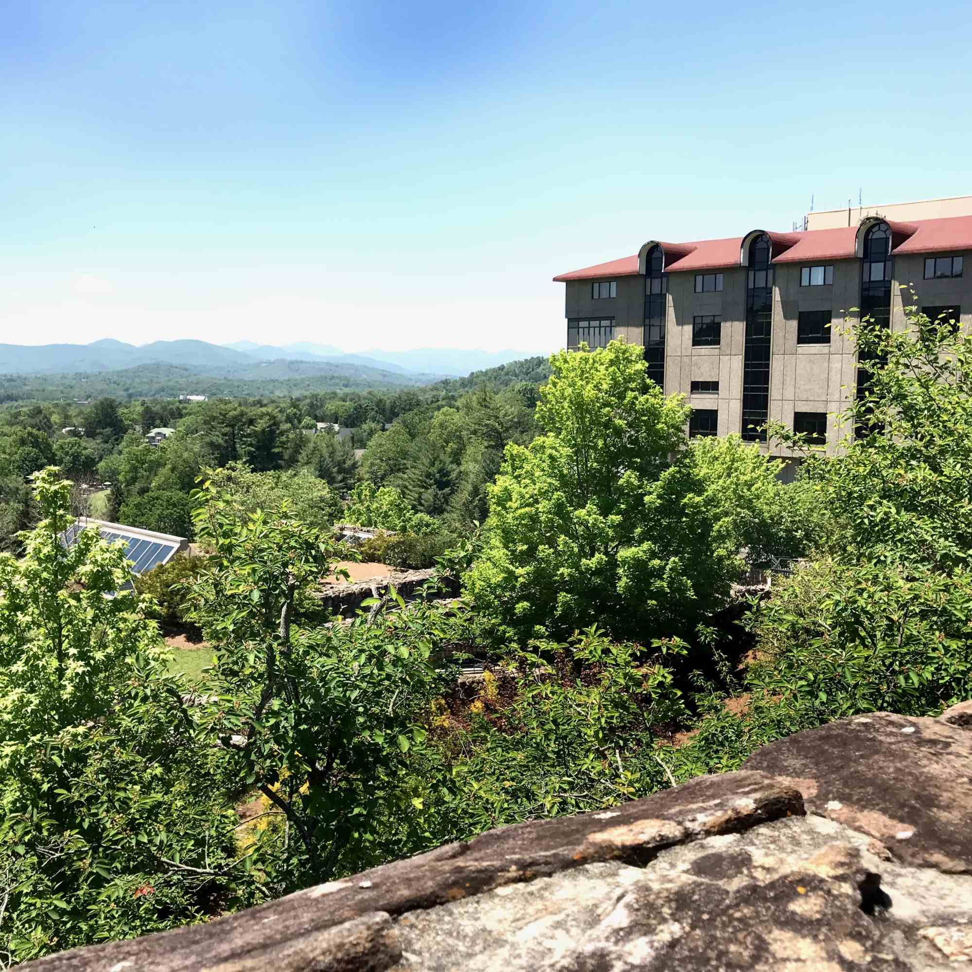 view of mountains from Grove Park Inn in Asheville