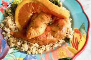 orange chicken with broccoli on rice
