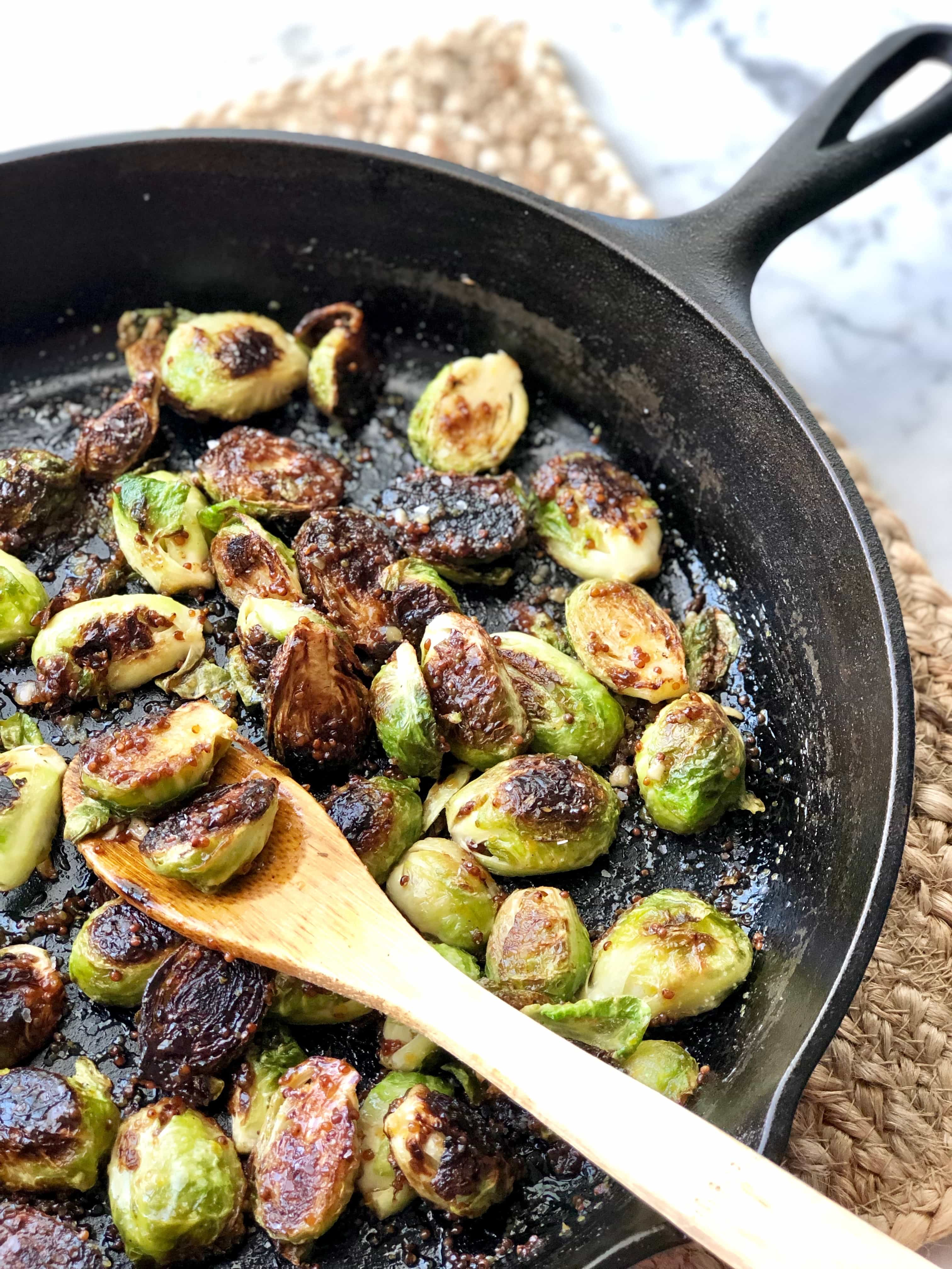 fried brussels sprouts in a honey mustard sauce