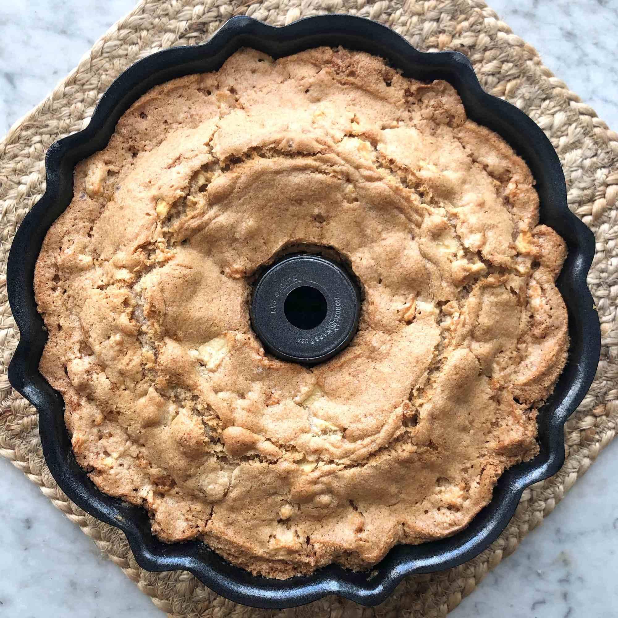 fresh apple cake in bundt pan
