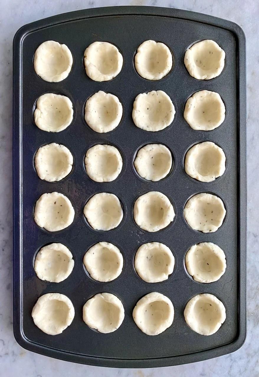 mini tarts in a muffin pan