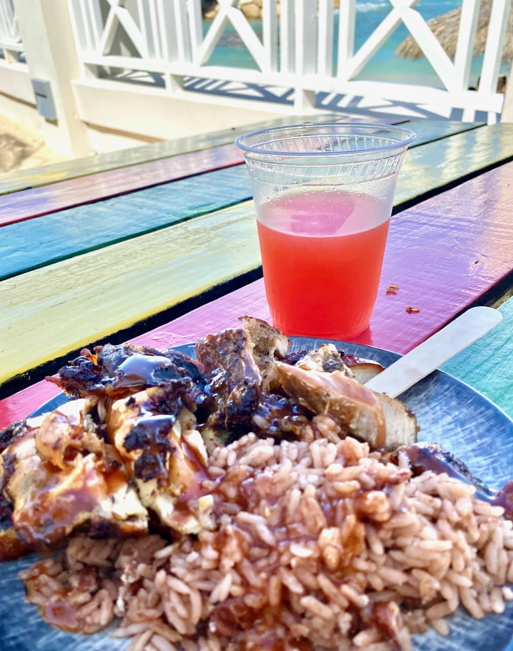 jerk chicken and rice in Jamaica