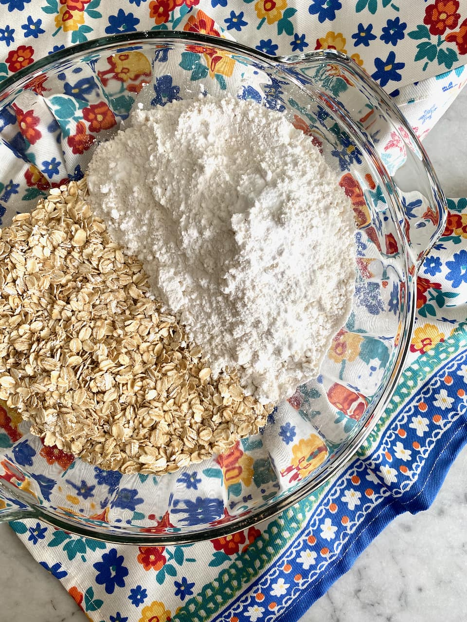 flour and oats in a bowl