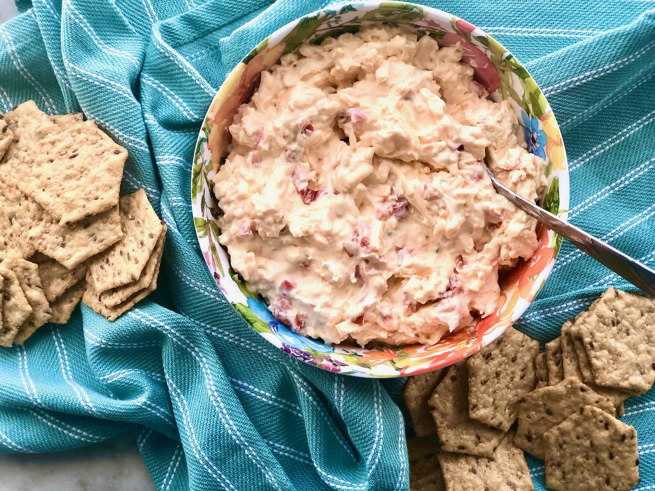 Smoked Pimento-Jack Cheese in a floral bowl with crackers